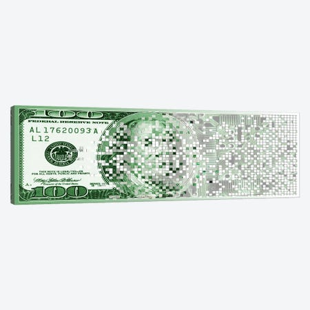 One Hundred Dollar Bill turning digital Canvas Print #PIM10259} by Panoramic Images Art Print