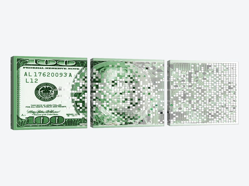 One Hundred Dollar Bill turning digital by Panoramic Images 3-piece Art Print