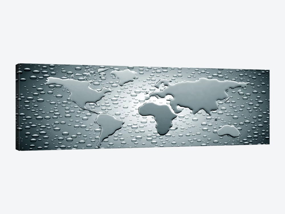Water drops forming continents 1-piece Art Print