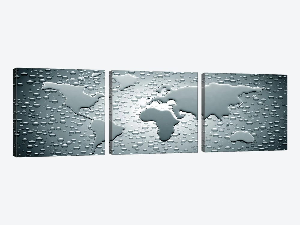 Water drops forming continents 3-piece Canvas Art Print
