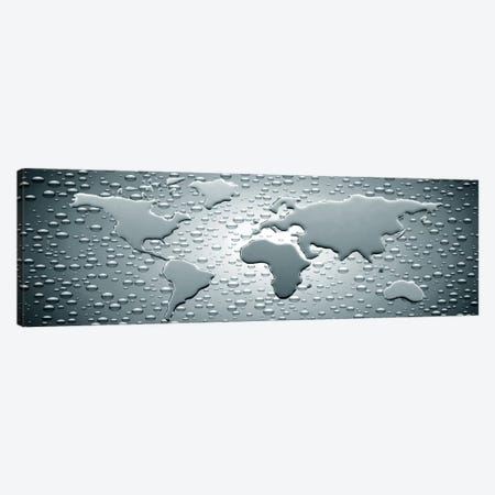 Water drops forming continents 3-Piece Canvas #PIM10260} by Panoramic Images Canvas Art