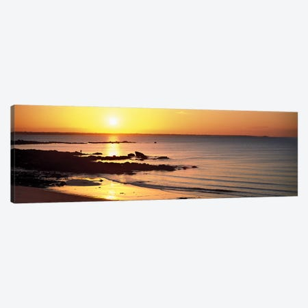 Sunrise over the beach, Beg Meil, Finistere, Brittany, France Canvas Print #PIM10266} by Panoramic Images Canvas Print