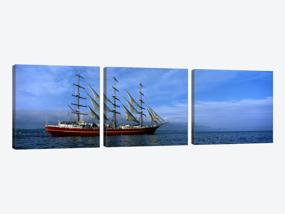Tall ships race in the oceanBaie De Douarnenez, Finistere, Brittany, France by Panoramic Images 3-piece Canvas Print