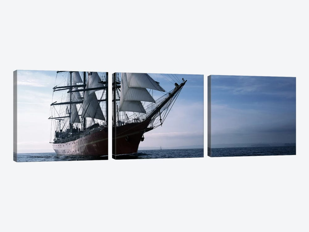 Tall ships race in the ocean, Baie De Douarnenez, Finistere, Brittany, France by Panoramic Images 3-piece Canvas Artwork