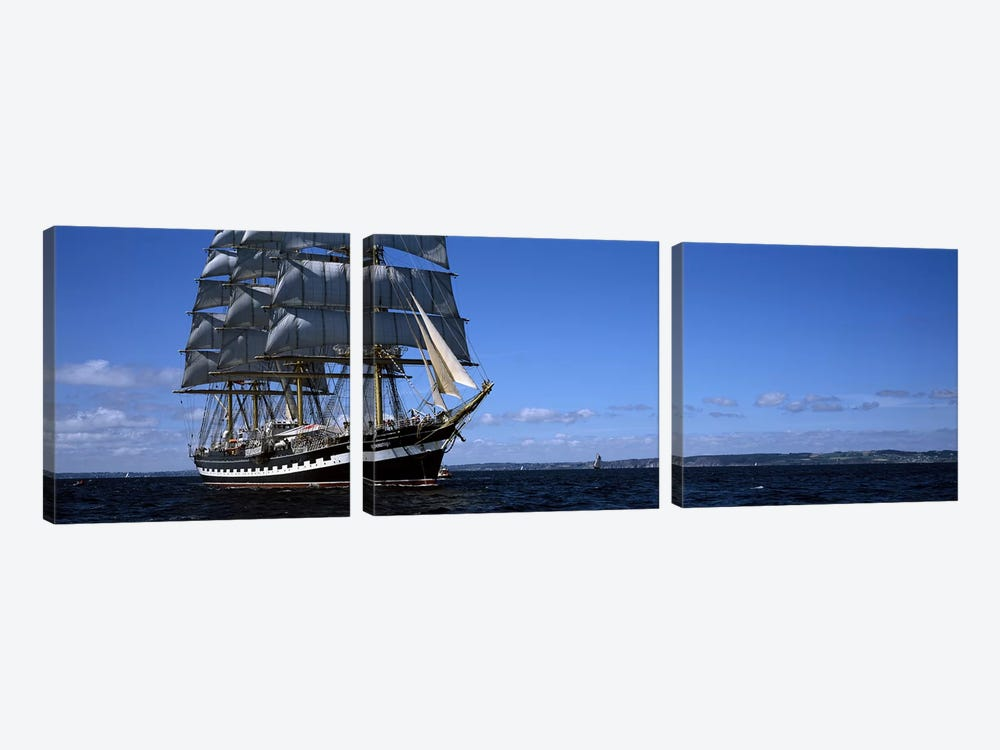 Tall ships race in the ocean, Baie De Douarnenez, Finistere, Brittany, France #2 by Panoramic Images 3-piece Canvas Art