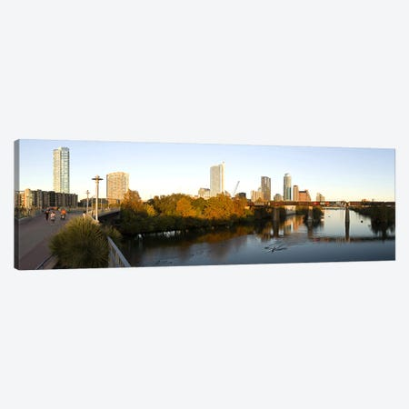 Skyscrapers in a city, Lamar Street Pedestrian Bridge, Austin, Texas, USA Canvas Print #PIM10282} by Panoramic Images Canvas Art