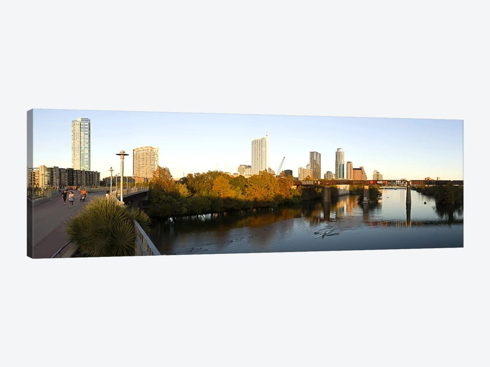 Skyscrapers in a city, Lamar Street Pedestrian Bridge, Austin, Texas, USA by Panoramic Images 1-piece Canvas Art Print