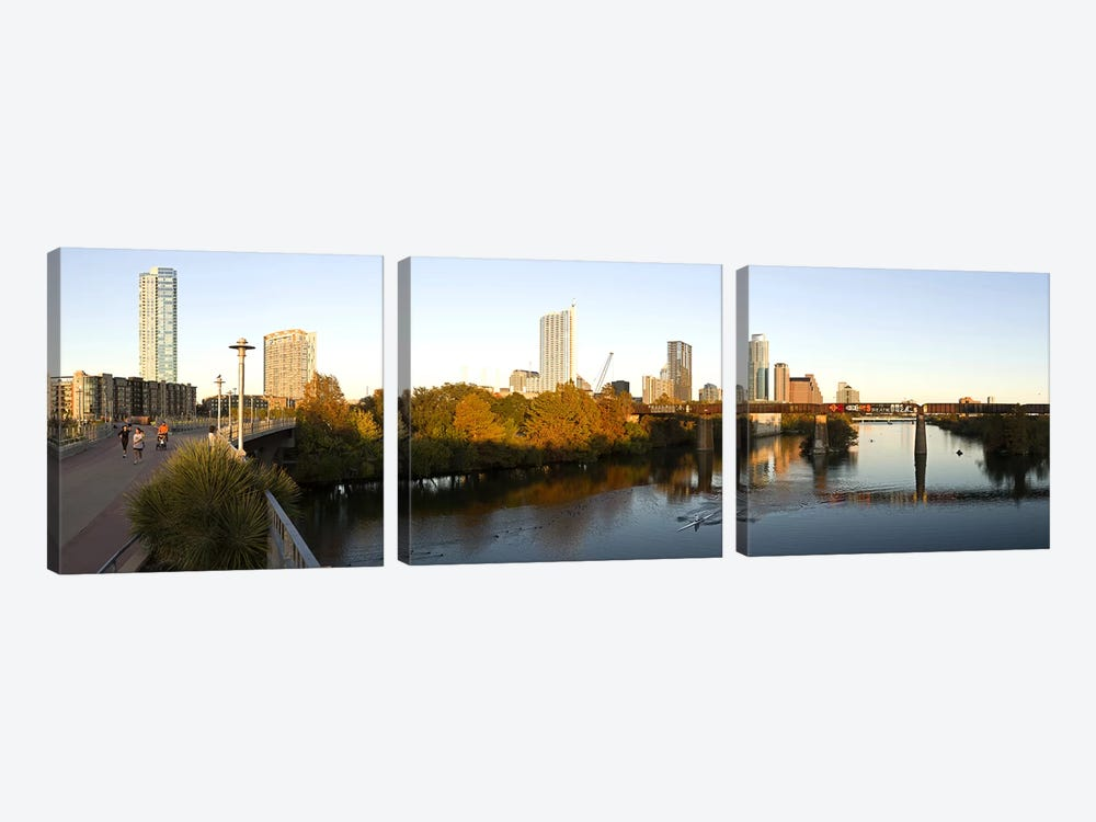 Skyscrapers in a city, Lamar Street Pedestrian Bridge, Austin, Texas, USA by Panoramic Images 3-piece Canvas Print
