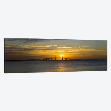 Sunrise over Sunshine Skyway Bridge, Tampa Bay, Florida, USA Canvas Print #PIM10289} by Panoramic Images Canvas Wall Art