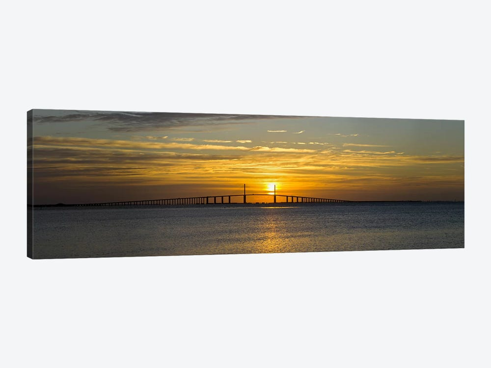 Sunrise over Sunshine Skyway Bridge, Tampa Bay, Florida, USA by Panoramic Images 1-piece Canvas Art