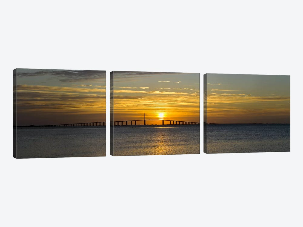 Sunrise over Sunshine Skyway Bridge, Tampa Bay, Florida, USA by Panoramic Images 3-piece Canvas Wall Art