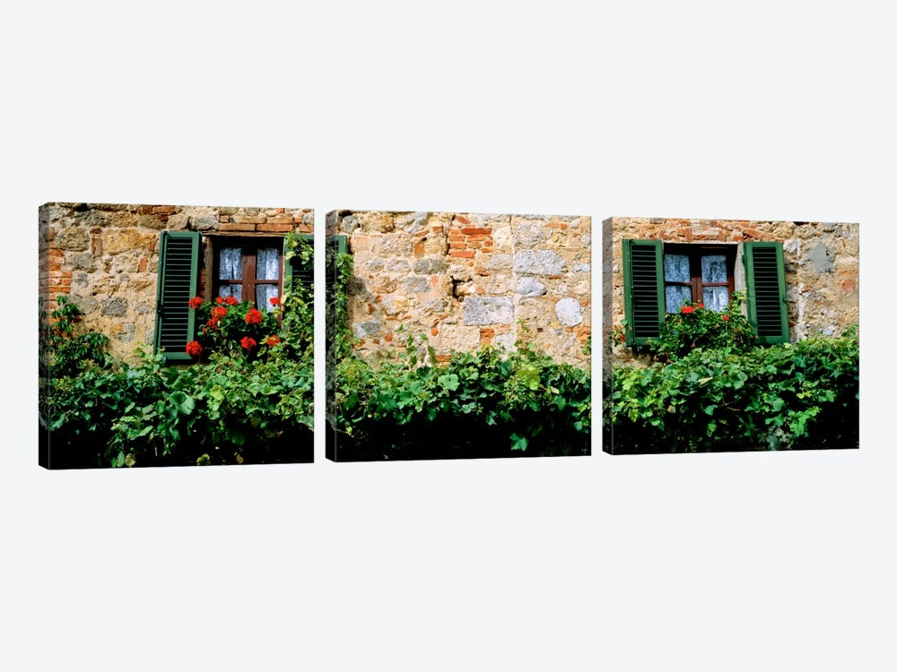 Shuttered Windows, Monteriggioni, Tuscany, Italy by Panoramic Images 3-piece Canvas Artwork