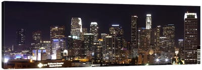 Buildings lit up at night, Los Angeles, California, USA 2011 Canvas Art Print