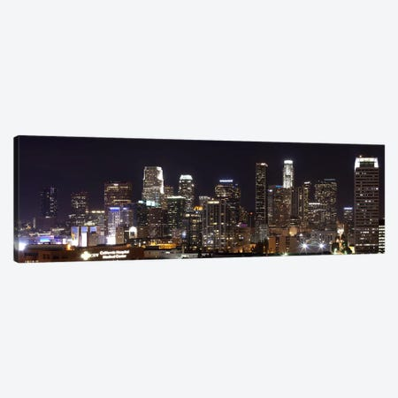 Buildings lit up at night, Los Angeles, California, USA 2011 Canvas Print #PIM10290} by Panoramic Images Art Print