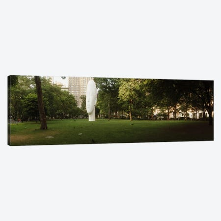 Large head sculpture in a park, Madison Square Park, Madison Square, Manhattan, New York City, New York State, USA Canvas Print #PIM10291} by Panoramic Images Art Print