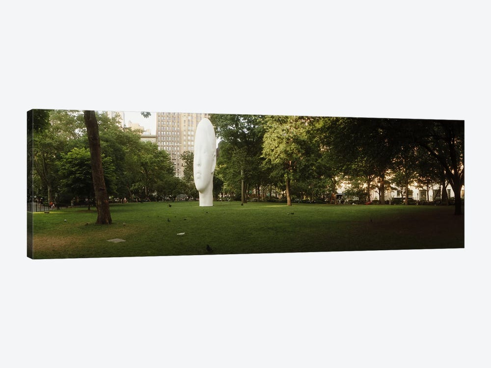Large head sculpture in a park, Madison Square Park, Madison Square, Manhattan, New York City, New York State, USA by Panoramic Images 1-piece Art Print