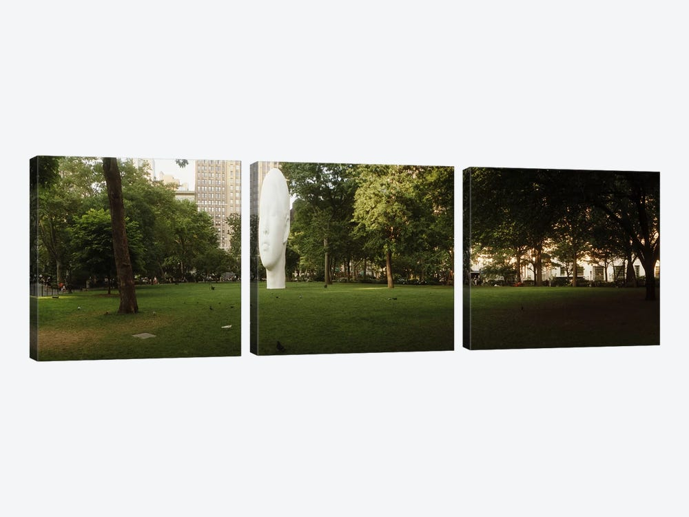 Large head sculpture in a park, Madison Square Park, Madison Square, Manhattan, New York City, New York State, USA by Panoramic Images 3-piece Art Print