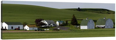 Farm with double barns in wheat fields, Washington State, USA Canvas Art Print