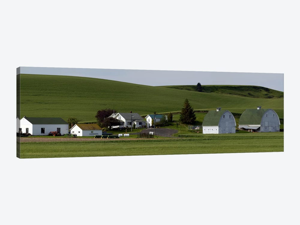 Farm with double barns in wheat fields, Washington State, USA by Panoramic Images 1-piece Canvas Art Print
