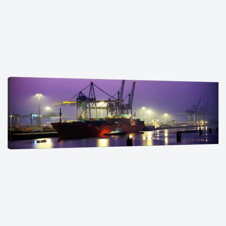 Illuminated Port At Night, Hamburg, Germany Canvas Print #PIM1030} by Panoramic Images Canvas Artwork