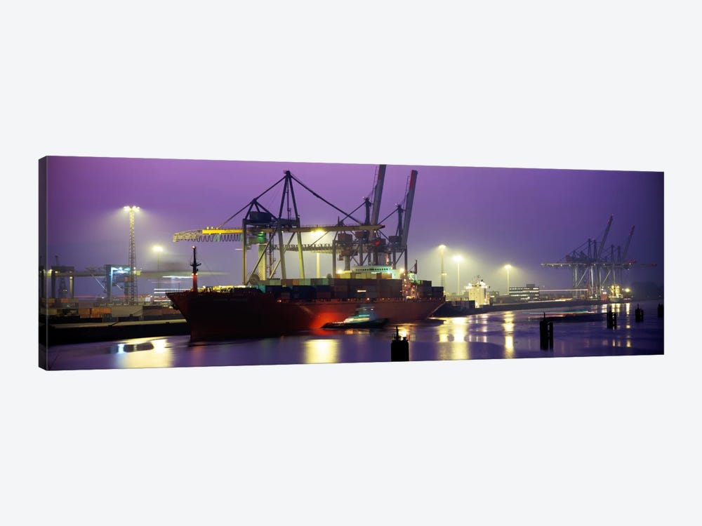 Illuminated Port At Night, Hamburg, Germany by Panoramic Images 1-piece Art Print