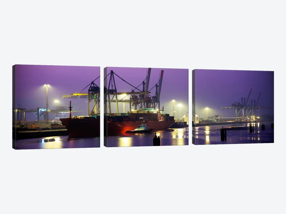 Illuminated Port At Night, Hamburg, Germany by Panoramic Images 3-piece Canvas Art Print