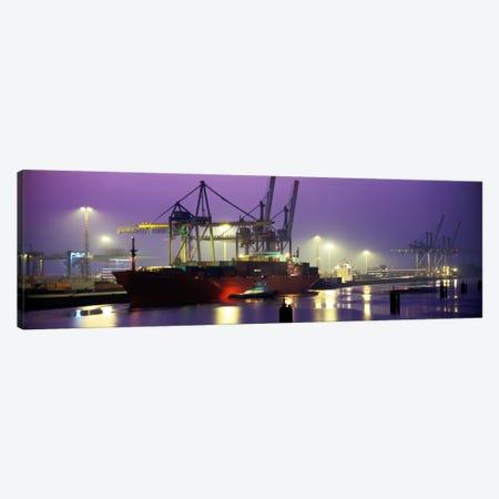 Illuminated Port At Night, Hamburg, Germany Canvas Print #PIM1030} by Panoramic Images Canvas Artwork