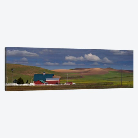 Barn and fields, Palouse, Colfax, Washington State, USA Canvas Print #PIM10312} by Panoramic Images Canvas Art