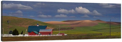 Barn and fields, Palouse, Colfax, Washington State, USA Canvas Art Print