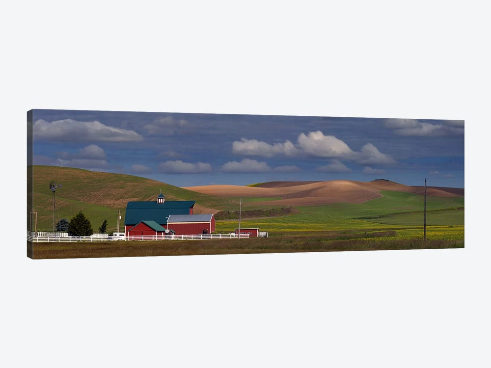 Barn and fields, Palouse, Colfax, Washington State, USA 1-piece Art Print