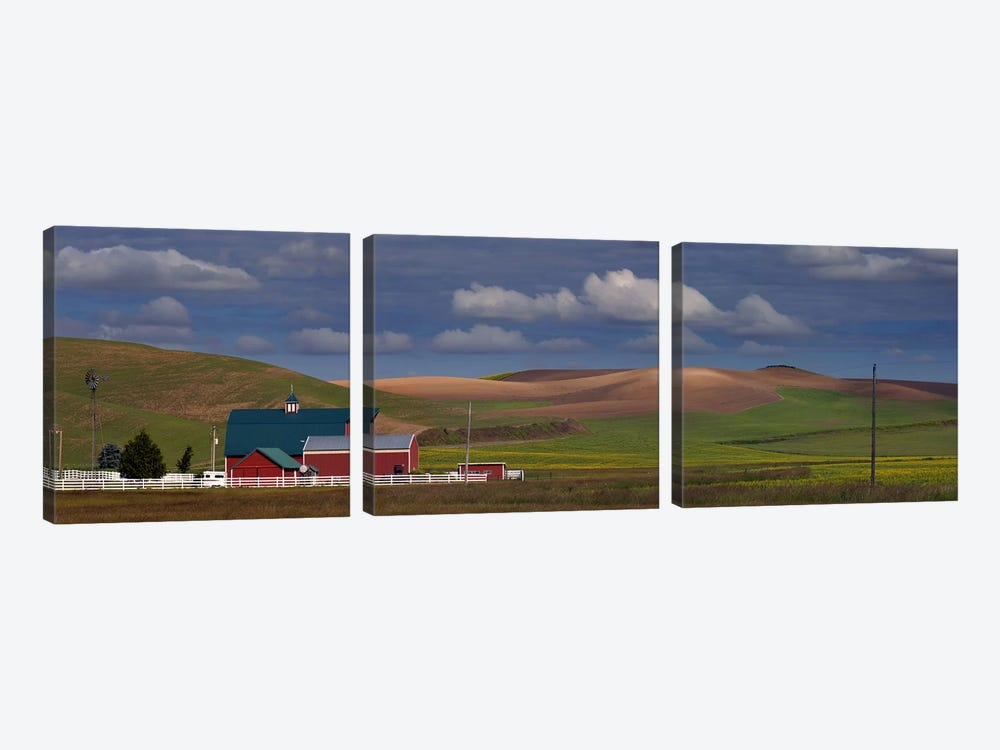 Barn and fields, Palouse, Colfax, Washington State, USA 3-piece Canvas Art Print
