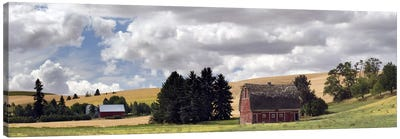 Old barn under cloudy sky, Palouse, Washington State, USA Canvas Art Print