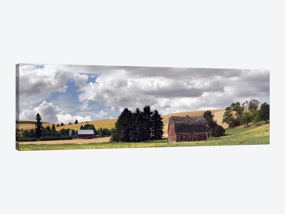 Old barn under cloudy sky, Palouse, Washington State, USA by Panoramic Images 1-piece Canvas Art