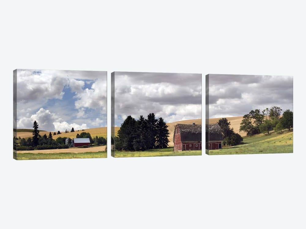 Old barn under cloudy sky, Palouse, Washington State, USA by Panoramic Images 3-piece Canvas Wall Art