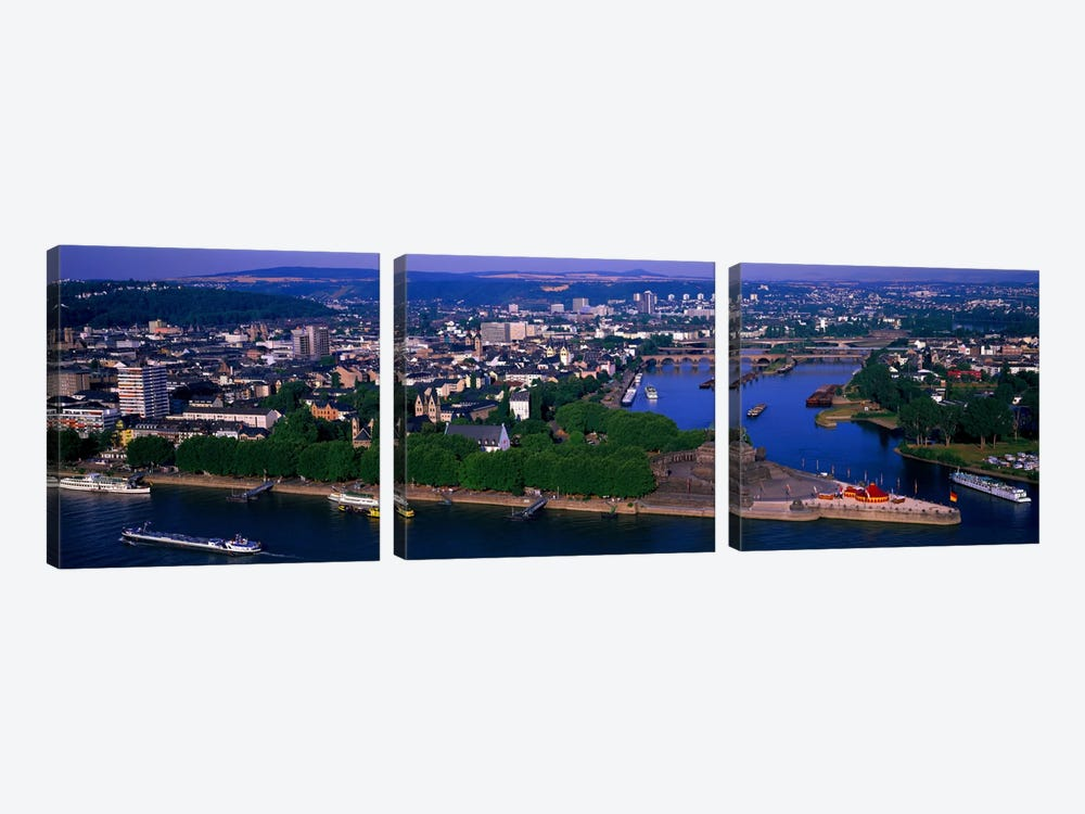 Rhine River Mosel River Koblenz Germany by Panoramic Images 3-piece Canvas Art