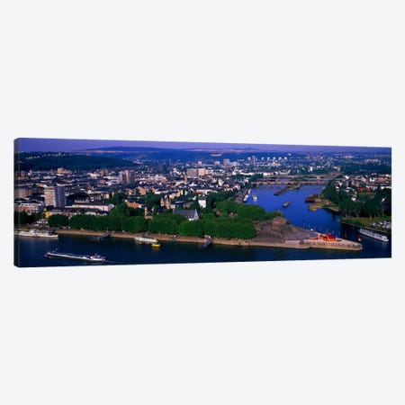 Rhine River Mosel River Koblenz Germany Canvas Print #PIM1031} by Panoramic Images Canvas Artwork