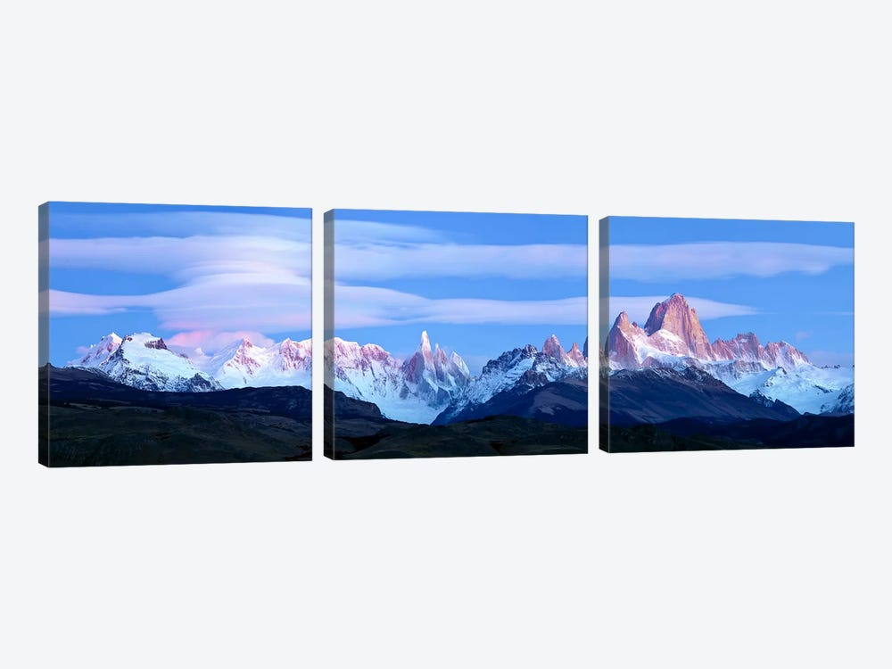 Cloudy Mountain Landscape, Fitz Roy-Torre Group, Andes, Southern Patagonian Ice Field by Panoramic Images 3-piece Canvas Artwork