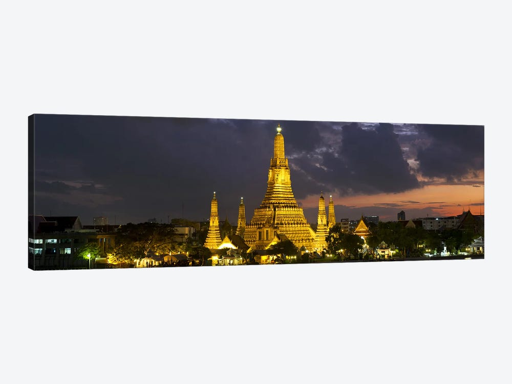 Buddhist temple lit up at dawn, Wat Arun, Chao Phraya River, Bangkok, Thailand 1-piece Canvas Print