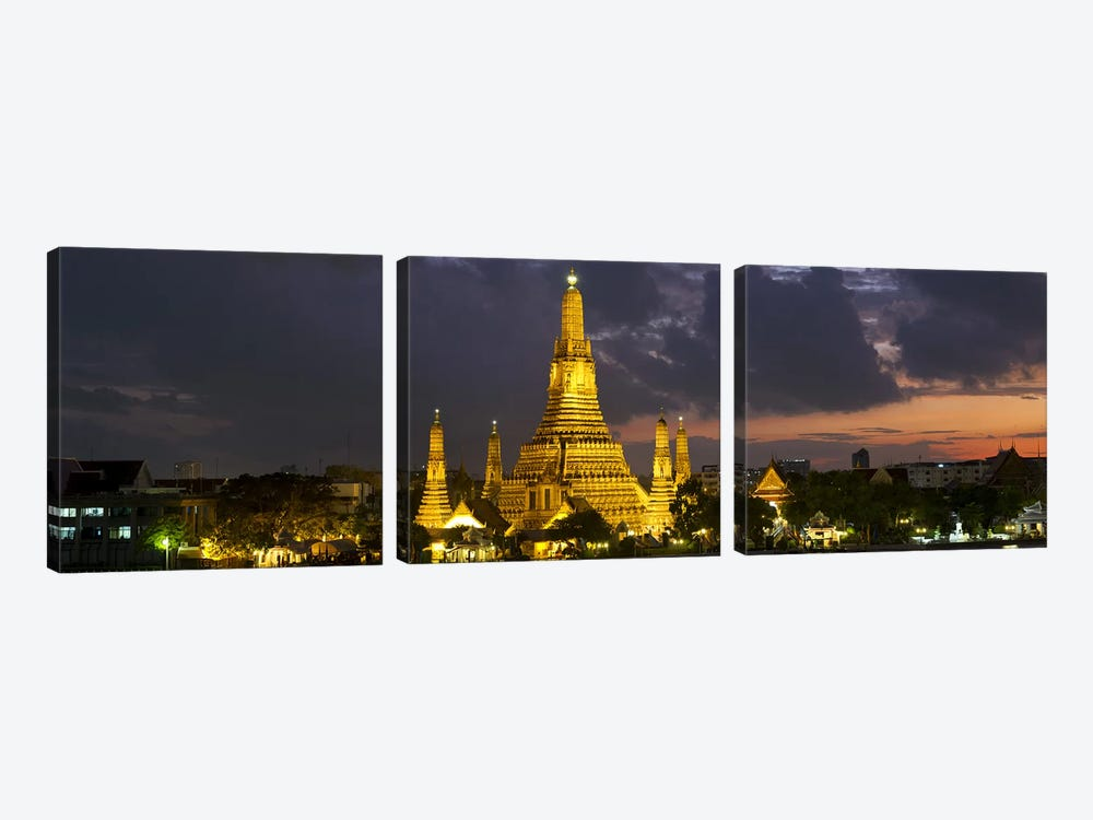 Buddhist temple lit up at dawn, Wat Arun, Chao Phraya River, Bangkok, Thailand by Panoramic Images 3-piece Canvas Art Print
