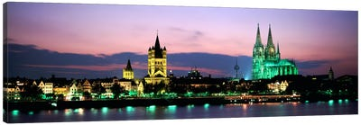 Great St. Martin & Cologne Cathedral At Dusk, Cologne, Germany Canvas Print #PIM1033