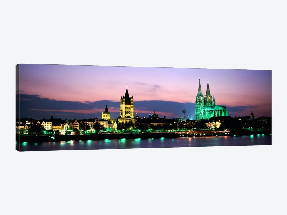 Great St. Martin & Cologne Cathedral At Dusk, Cologne, Germany by Panoramic Images 1-piece Canvas Artwork