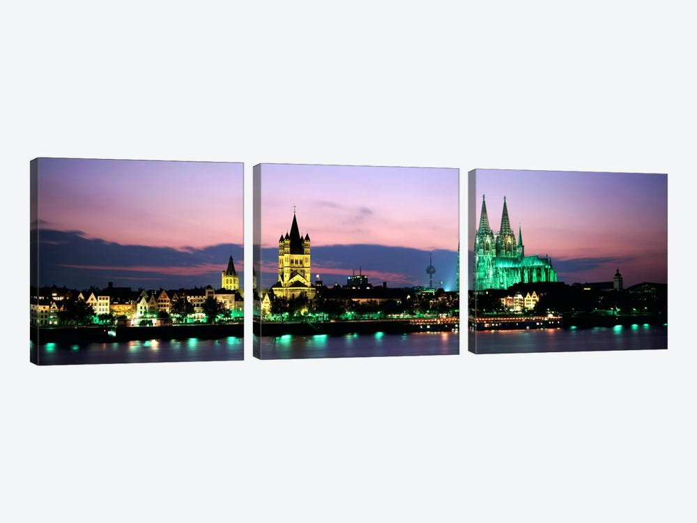 Great St. Martin & Cologne Cathedral At Dusk, Cologne, Germany by Panoramic Images 3-piece Canvas Artwork