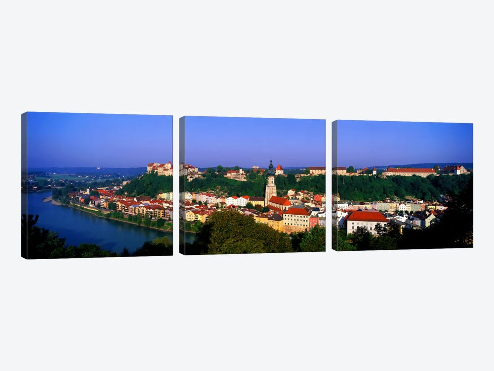 Skyline Salzach River Burghausen Bavaria Germany by Panoramic Images 3-piece Canvas Art Print