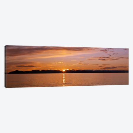 Ocean at sunset, Inside Passage, Alaska, USA Canvas Print #PIM10351} by Panoramic Images Canvas Art