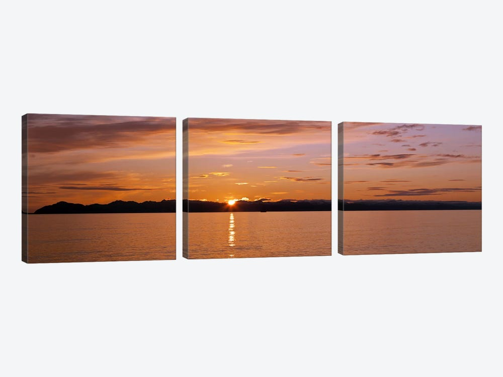 Ocean at sunset, Inside Passage, Alaska, USA by Panoramic Images 3-piece Canvas Art