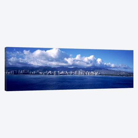 City at the waterfront, Waikiki, Honolulu, Oahu, Hawaii, USA Canvas Print #PIM10354} by Panoramic Images Canvas Print