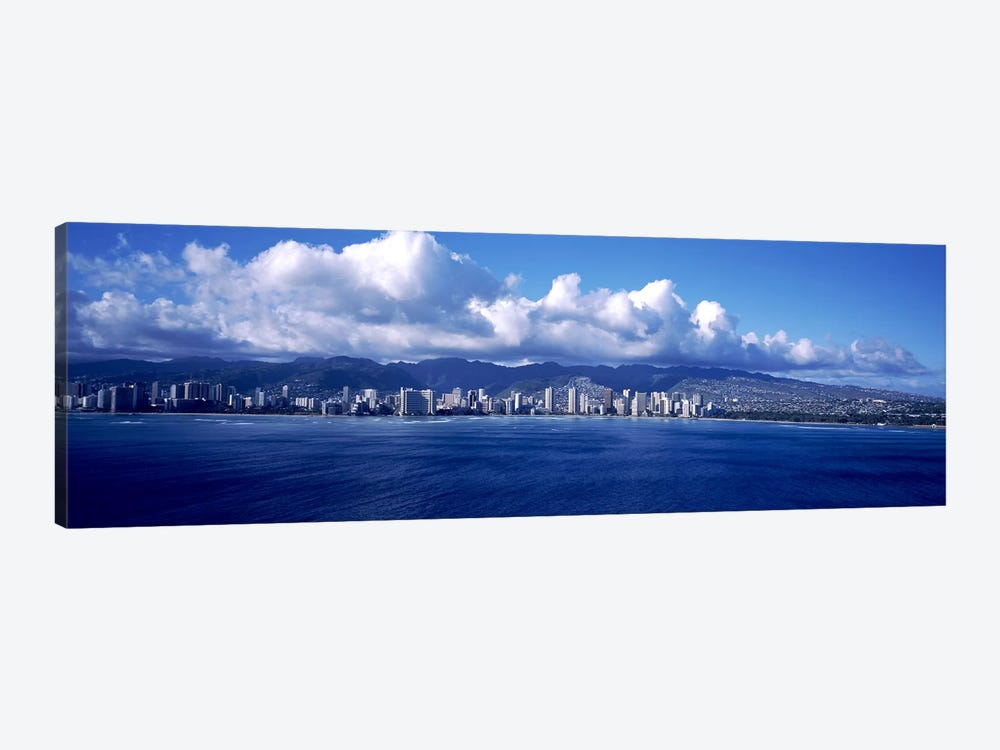 City at the waterfront, Waikiki, Honolulu, Oahu, Hawaii, USA by Panoramic Images 1-piece Canvas Art Print