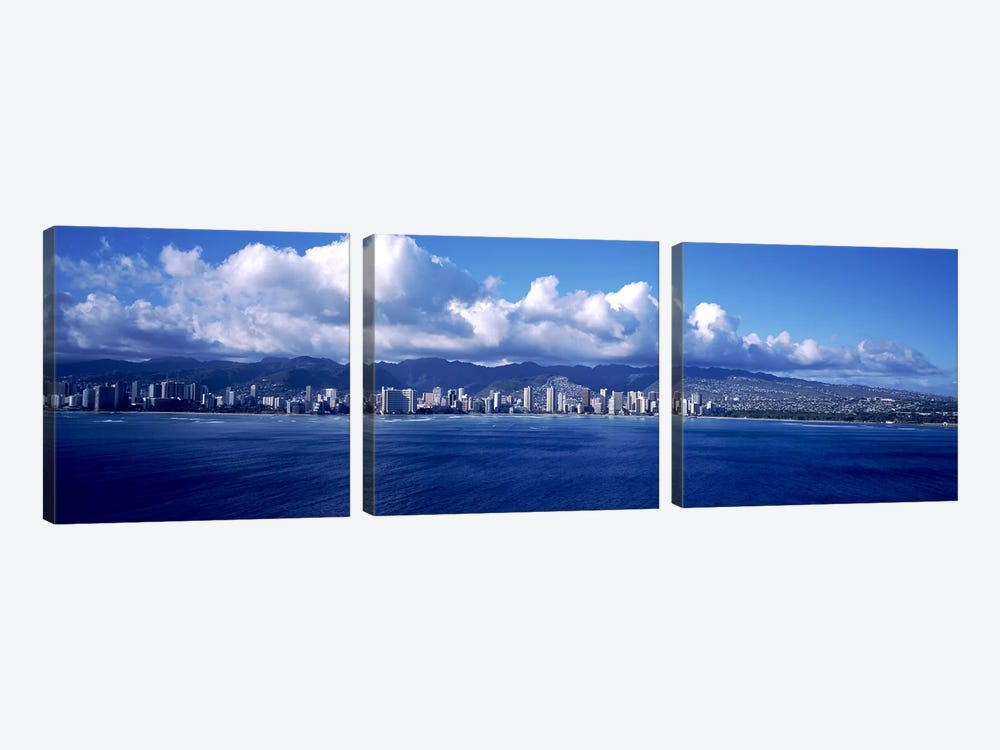 City at the waterfront, Waikiki, Honolulu, Oahu, Hawaii, USA by Panoramic Images 3-piece Art Print