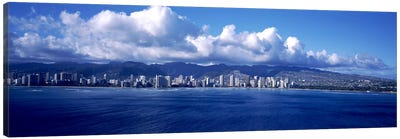 City at the waterfront, Waikiki, Honolulu, Oahu, Hawaii, USA Canvas Art Print