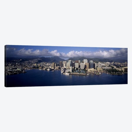 Buildings at the waterfront, Honolulu, Hawaii, USA Canvas Print #PIM10360} by Panoramic Images Art Print